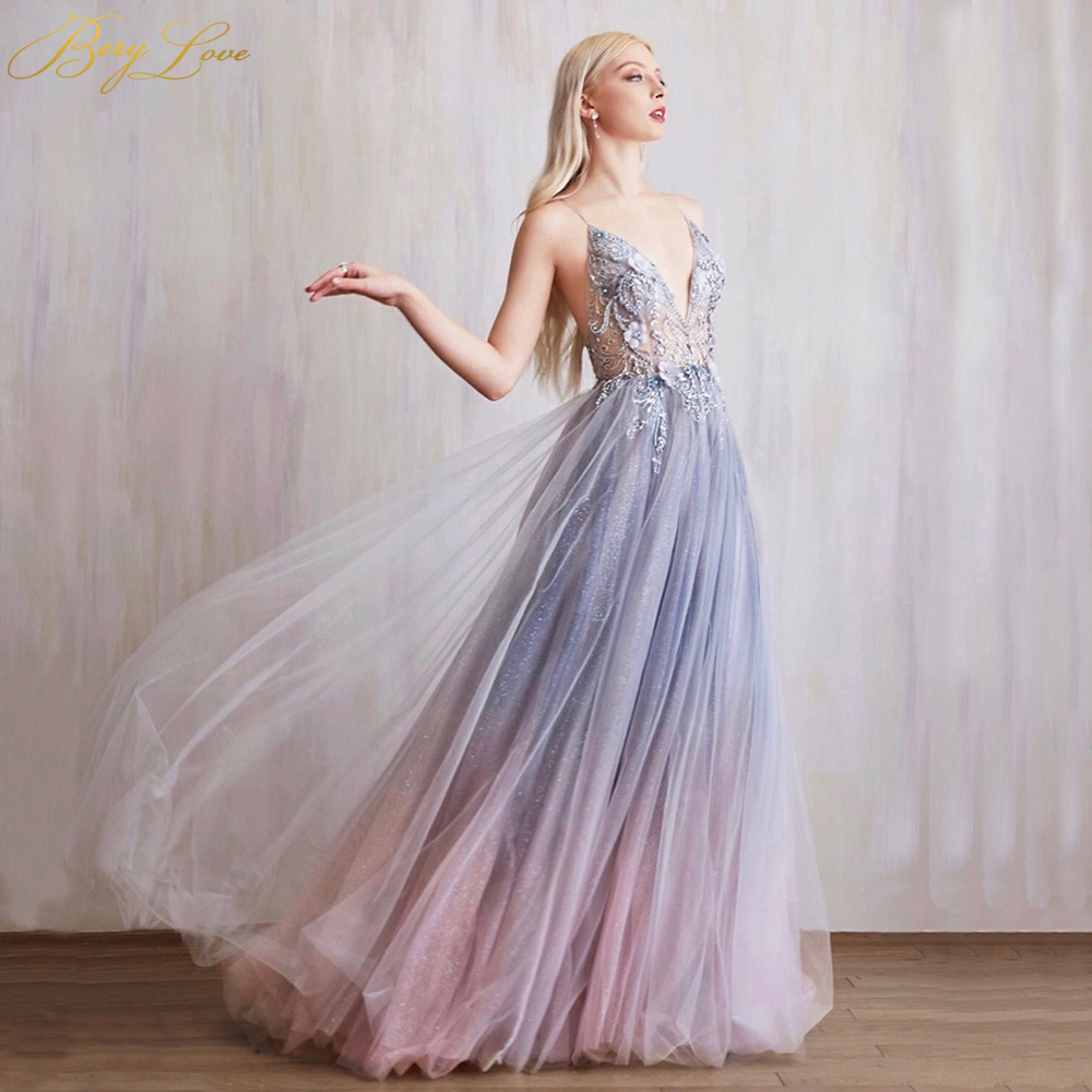 BeryLove Colorful Evening Dress 2020 Colorful Illusion Bodice Bead A line Tulle Evening Gown Long Slit Prom Train Robe De Soire