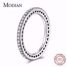 Anillo de Plata de Ley 925 auténtica con diseño de corazón de Modian, circonita transparente, moderno, apilable, clásico, de lujo para mujer, regalo de compromiso