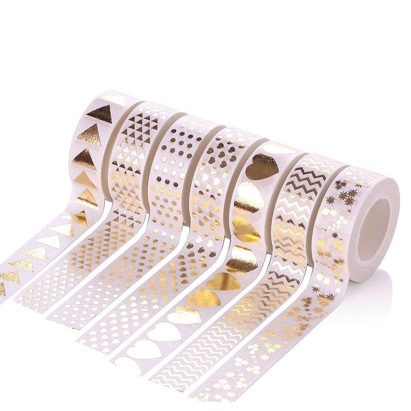 1 Uds. 15mm * 10m Diy adhesivo Washi enmascarar oro estampado estilo cintas para Scrapbooking Coupé Car Body Sticker accesorio de pegatinas plata oro cromo Metal Exterior emblema estilamientos decoración coche estilo