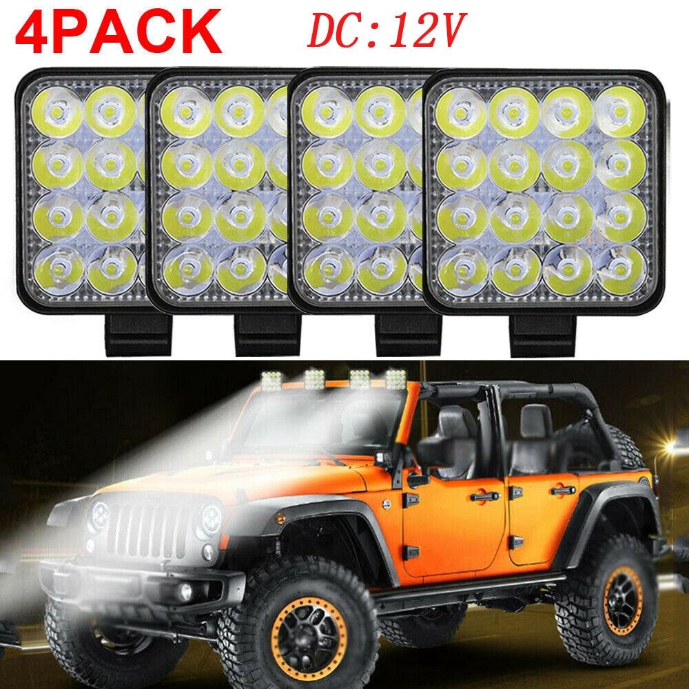 Vehicle LED Work light 48W DC12V 6000K Shockproof 1000LM Flood beam Floodlight
