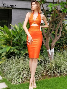 Image 2 - VC All Free Shipping HOT Two Pieces Halter Oil Print Sleeveless Sexy Hollow Out V Neck Celebrity Party Bandage Dress Set