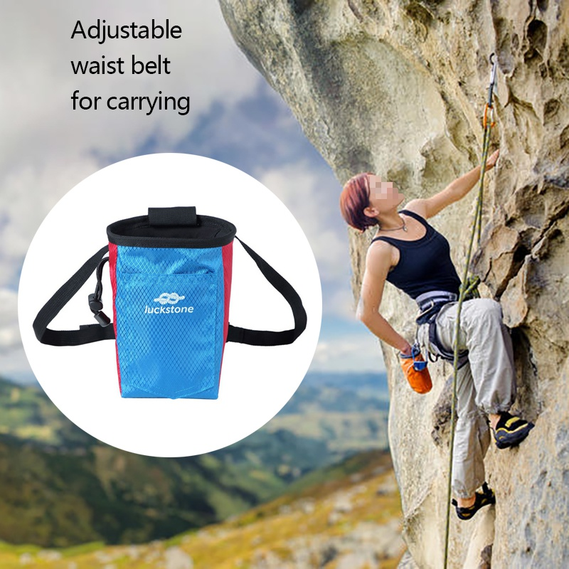 Climbing Chalk Bag Caving Powder Storage Pouch With Waist Belt For Rock Climbing Bouldering Gymnastics Weightlifting