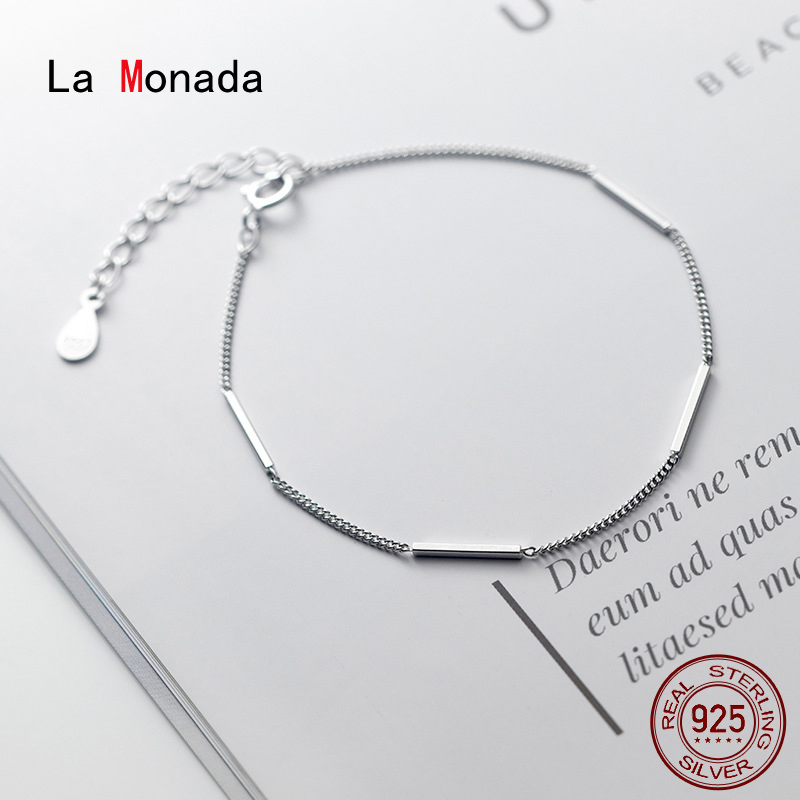 La Monada Straight Bracelets For Women Silver 925 Sterling Silver Fine Real Silver 925 Jewelry Bracelet Chain Women's Bracelet