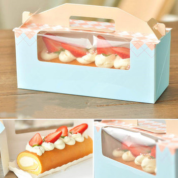 40pcs Cake Box Packaging Wedding Favor Gift Christmas Candy Party Cake Dessert Paper Wrap Portable Cake Roll Boxs Storage