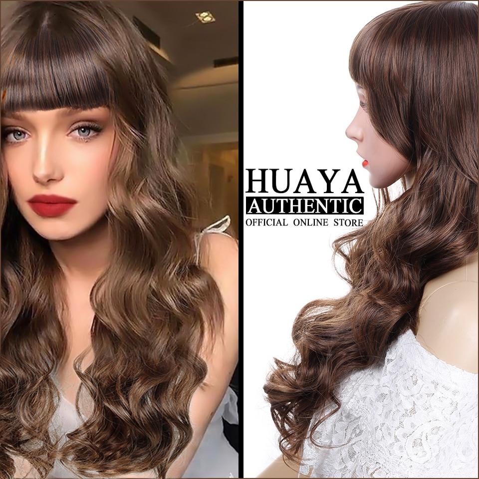 Huaya Women S Long Wigs With Bangs Natural Brown Wavy Curly Hair