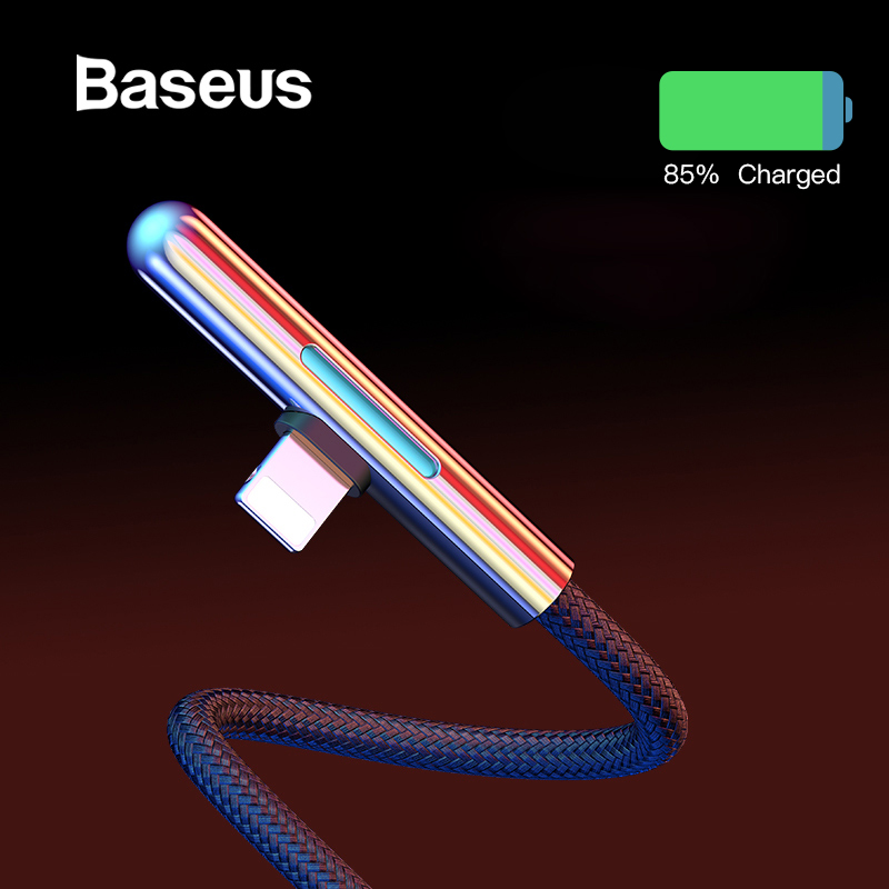 Baseus LED Cable USB for iPhone XR 2.4A Fast Charging for iPhone 11 Pro 8 XS Max USB Cable Elbow Colorful Light Cabo USB Wire 2m-in Mobile Phone Cables from Cellphones & Telecommunications on AliExpress