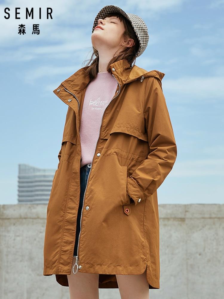 SEMIR Long Windbreaker Women Hooded Hit Color Waist Slimming Work Wind Jacket Loose Tide Cool Popular Fashion Jacket