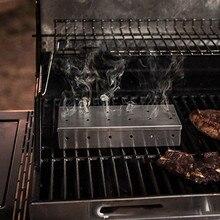 Коробка для коптильни для барбекю с древесной стружкой для внутреннего использования на угле и газе, гриль для барбекю и мяса, аксессуары для курения с ароматом дыма 829