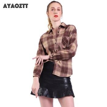 Women's Roll Up Long Sleeve Tartan Plaid Collared Button Down Boyfriend Casual Flannel Shirt Top AYAOZTT  Hot Sale Blouses 2020