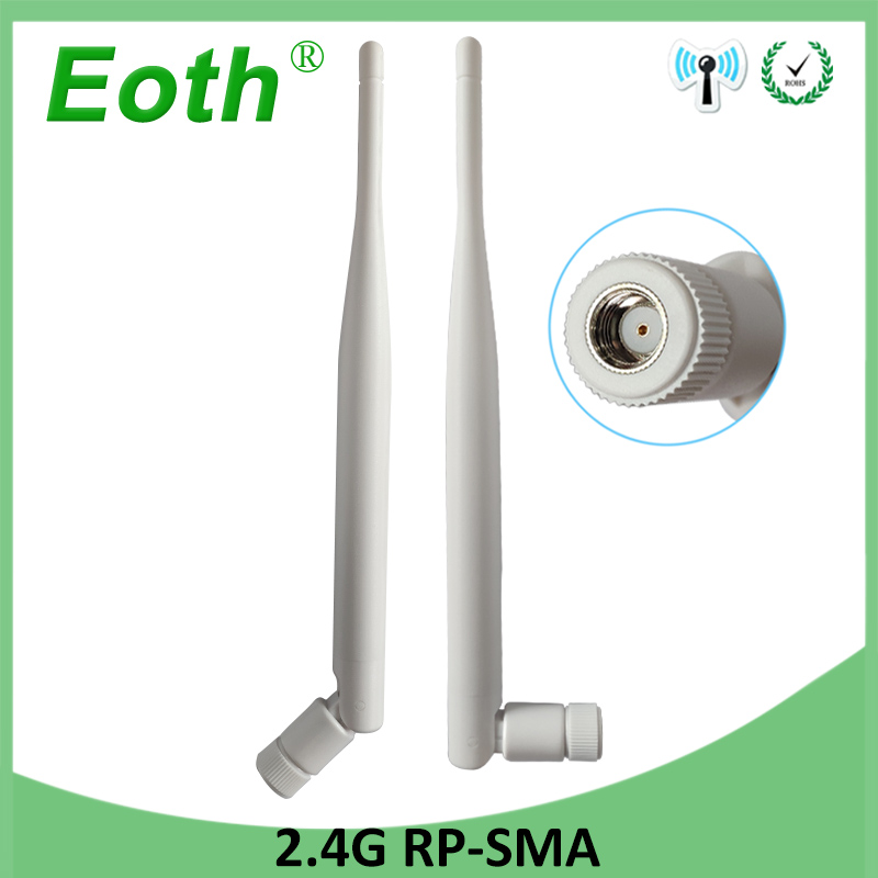 2pcs 2.4GHz Antenna RP-SMA Connector 5dBi WiFi Antenna 2.4G Antena Wi Fi Antenne Aerial Waterproof For Wi-fi Wireless Router