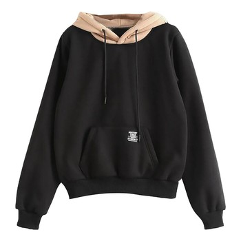 Women Sweatshirt And Hoodies Pullover Long Sleeve Pocket Patchwork Pullover Strappy Hoodie Sweatshirt Top Sudadera Mujer #LR4 strappy fitted top
