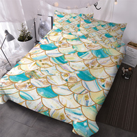 HM Life Bedding Set Fish Scales Marble Comforter Cover Golden Luxury Bed Set Glitter Colorful Stylish Home Textiles Bedclothes