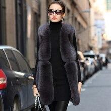 Natural Real Fox Fur Winter Vest Jacket Sleeveless V-neck Th