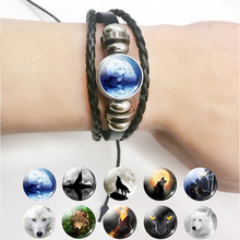 Cool Wolf and Moon Black Leather Bracelet Wrap Button Men Women Jewelry Drop Shipping Wholesal