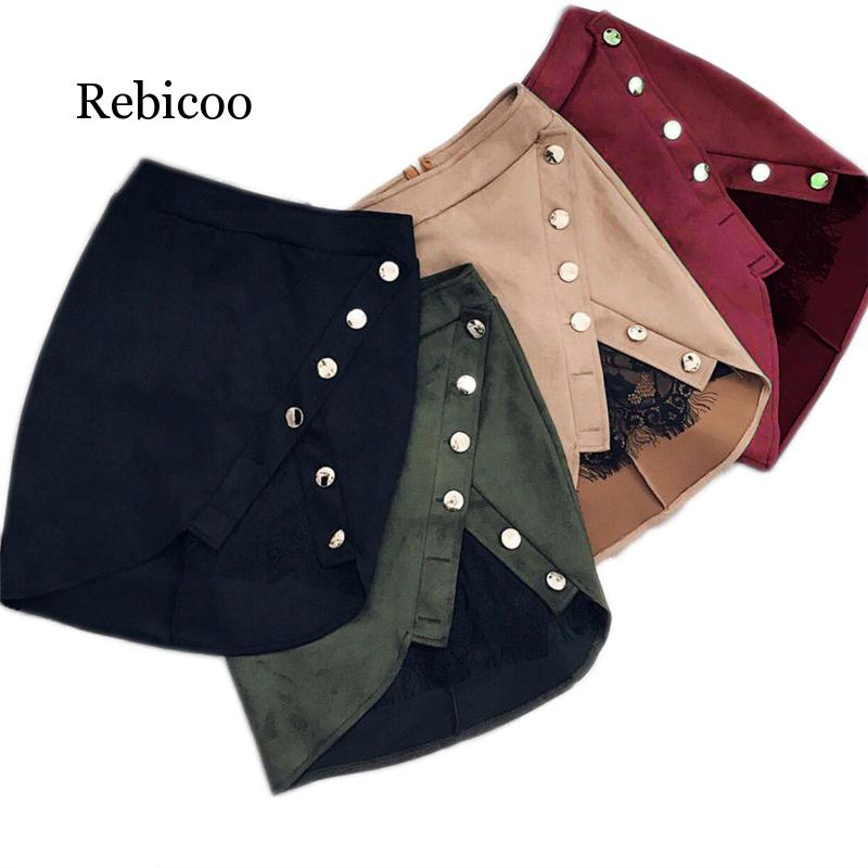 New Fashion Women's Ladies High Waist Pencil Skirt Button Lace Stitching Sexy Suede Leather Split Party Casual Mini Skirt