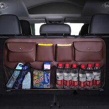 PU Leder Auto Lagerung Tasche Große Kapazität Net Lagerung Tasche Auto Organizer Hinten Sitz Zurück Tasche Auto Stamm Verstauen Aufräumen