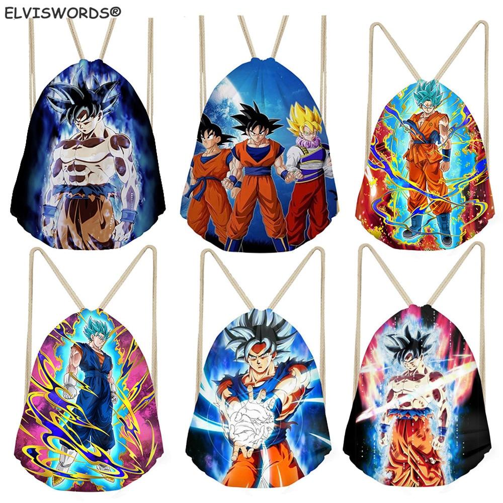 ELVISWORDS Dragon Ball Printed Travel Beach Sack Bag Customize Logo Drawstring Gym Bag Women Shopping Bag Saiyan Kid School Bag