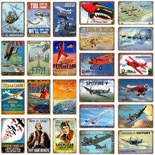 Oceano forro avião voando artesanato metal poster asas para vitória estanho sinais de pintura do vintage placa decorativa pub bar club decoração