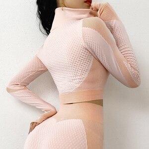 Image 5 - Top de yoga sin costuras de manga larga para otoño, tops cortos de gimnasio para mujer, camiseta para correr, sudadera deportiva con cremallera