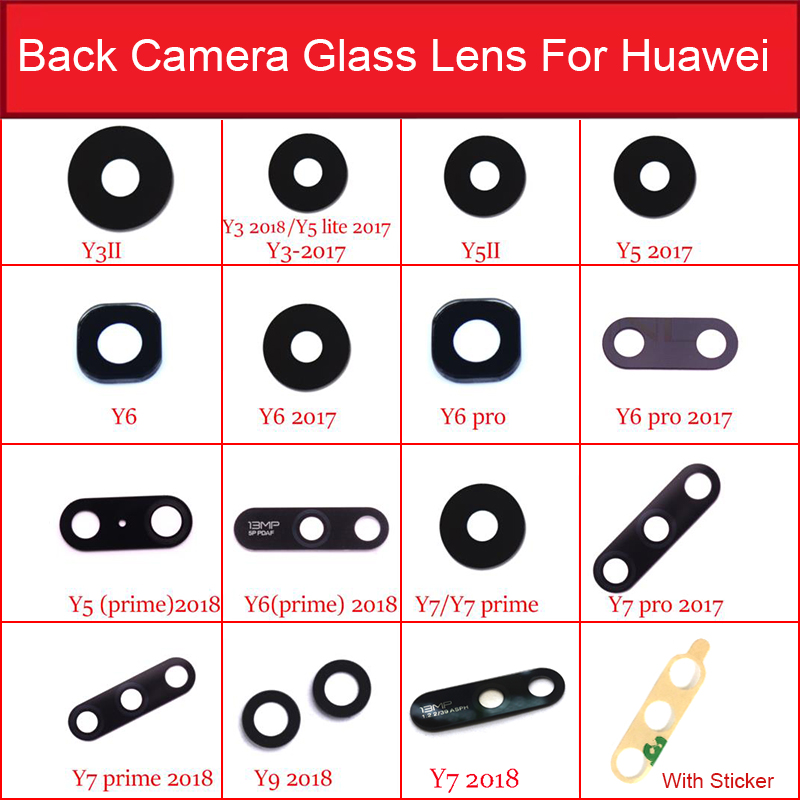 2pcs Back Camera Glass Lens For Huawei Y Series Y3 Y5 Y6 Y7 II Pro Prime 2016 2017 2018 Rear Camera Glass Lens Glass Lens