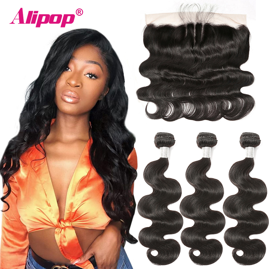Alipop Hair Brazilian Body Wave Lace Frontal With Bundles Remy Human Hair Bundles With Frontal 10-28 Inch Bundles With Closure