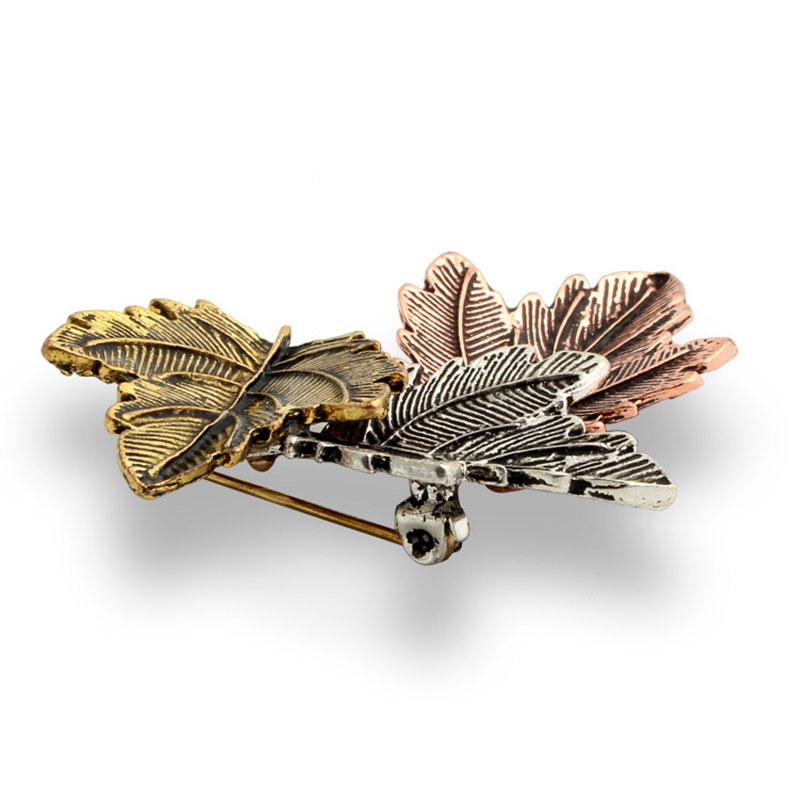 JUJIE Mini Canada Brooch Maple Leaves Brooches For Women 3 Color Metals Brooch Decorative Brooch Travel Souvenir Jewelry Gifts 3