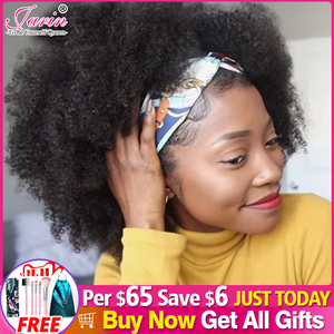 Image 1 - Peluca con diadema Afro rizado Bob para mujer, cabello humano 180% de densidad, pelucas de pelo corto rizado Remy brasileño, peluca completa hecha a máquina para mujer Janin