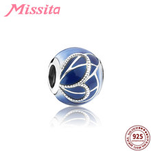MISSITA 925 Sterling Silver Blue Ocean Wing Beads fit Brand Charm Bracelet DIY Necklace Women Jewelry Accessories Gift Party(China)