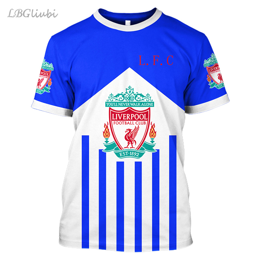 NEW Liverpool 3D printing T-shirt men and women football fashion casual short-sleeved fans short sleeve