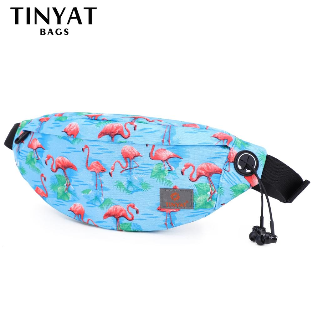 TINYAT Flamingo Women Waist Bag Pink Bird Casual Cartoon Travel Belt Bag Pouch For Phone Money Waterproof Adjustable Fanny Pack