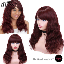Wigs Hair Natural-Wave Black-Women Brazilian HANNE with Bangs Burg/4--Color for Remy-Wig