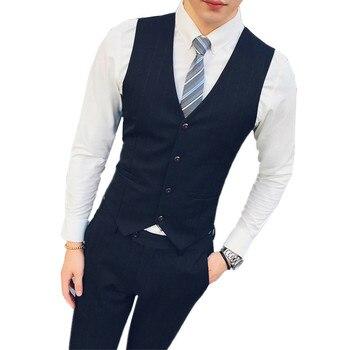 Black striped mens vest and suit pants two-piece set business casual vests trousers high quality gray vest pant 4xl