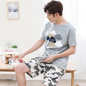 Image 5 - Serin yaz pamuk çift Pijama seti kısa severler Pijama erkekler & kadınlar Pijama Pijama eğlence ev giyim