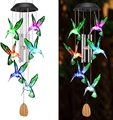 Color Changing Solar Power Wind Chime Crystal Ball Hummingbird Butterfly Waterproof Outdoor Windchime Light for Patio Yard Garde