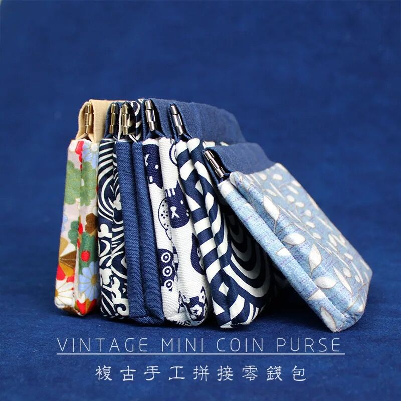 Japanese-style And Wind Purse Women's Vintage Cotton Linen Canvas Mouth Gold Package Floral Small Coin Bag Handmade Japanese Sty
