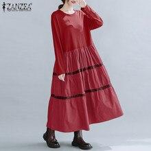 Elegante retalhos vestido de verão primavera feminino 2021 zanzea casual manga longa maxi vestidos femininos o pescoço robe femme plus size