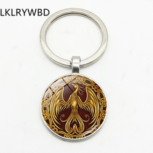 LKLRYWBD Vintage Gold Phoenix Pattern Keychain Keyring Jewelry Pendant Convex Glass Keychain Friends Gift(China)