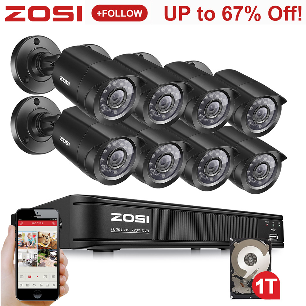 ZOSI 8CH 720P 4-in-1 CVBS AHD CVI TVI Video Security System CCTV DVR 1TB Outdoor Weatherproof Surveillance Security Camera