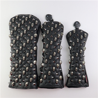 Golf Headcovers Skull Rivets PU Leather Golf Head Covers For Driver Fairway #3 #5 Hybrids Rescue Woods Clubs Golf Wood Cover