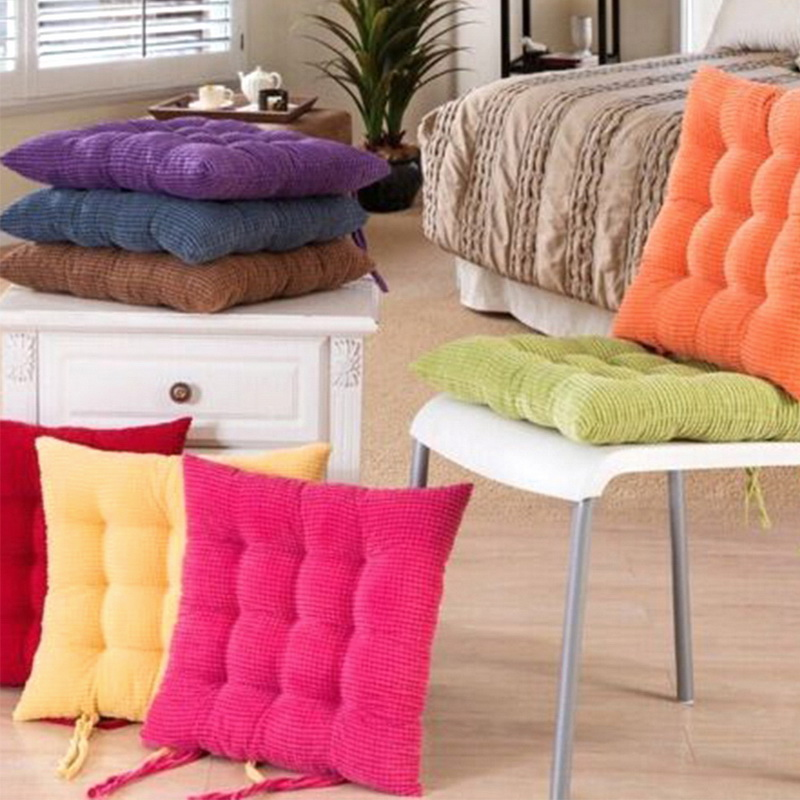 Hot Tatami Cushion Detachable Square Solid Thick Chair Pad Cushions Soft Washable Corduroy Corn Grain Student Cushions