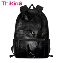 Thikin Moonlight Wolf High School Student Bag Backpack for Boys Big Capacity Supplies Package Shoulder Women Mochila