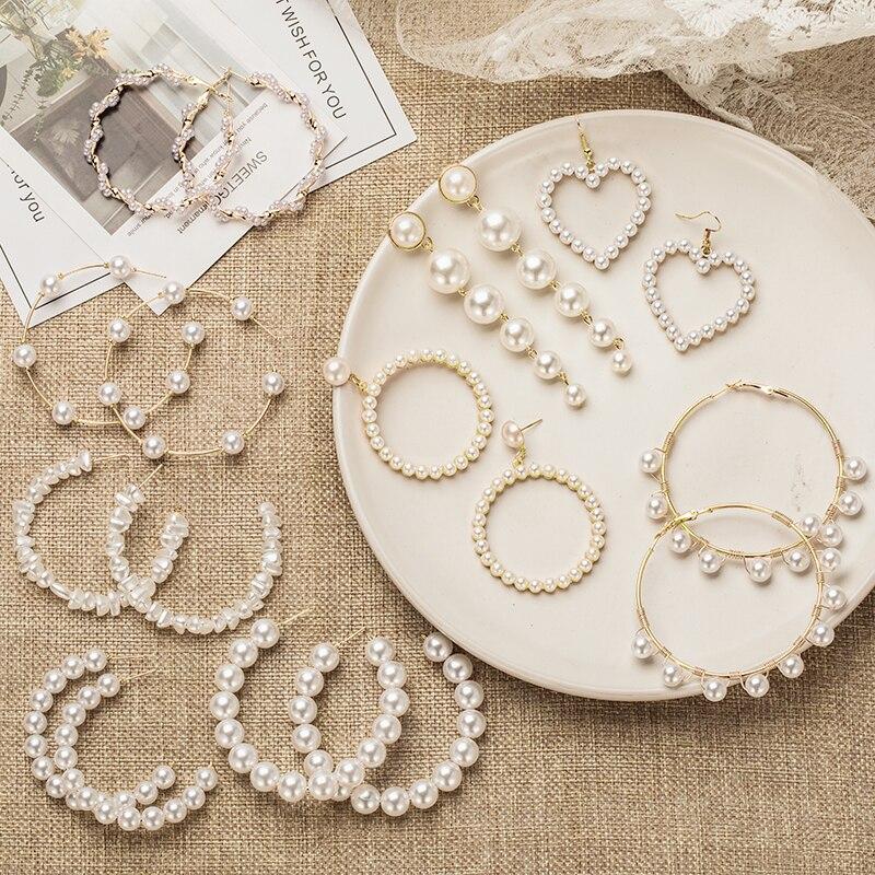 X&P Women's Earrings Pearl Hoop Drop Earrings For Women Heart Long Circle Earring Fashion Jewelry 2020 Geometric Kolczyki Earing