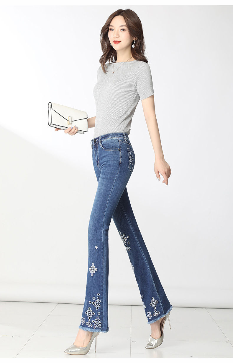 KSTUN FERZIGE High Waisted Jeans Women Stretch Blue Embroidery Woman Flares Bell-bottomed Pants Hollow Out Mom Jeans Plus Size 36 13