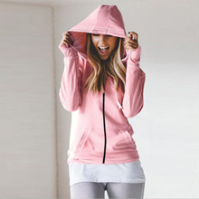 купить Loose female hoodie autumn and winter sweatshirt ladies zipper plus velvet hooded zipper solid color онлайн