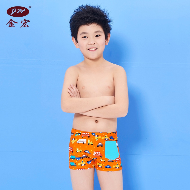 JH BOY'S Swimming Trunks Fashion Swimwear Cartoon Big Kid Boxer Swimming Trunks Hot Springs CHILDREN'S Swimwear