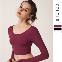 Autumn Women Yoga Long Sleeve Navel exposed T-shirts Back Cross with Brassiere Pad Workout Tops  Sports Wear for Women Gym long sleeve top with cross back