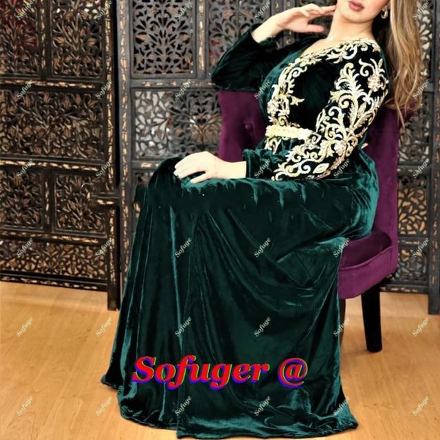 Robes De soirée en velours vert caftan marocain doré Appliques De bal saoudien arabe spécial dubaï Robe De soirée De mariage formelle