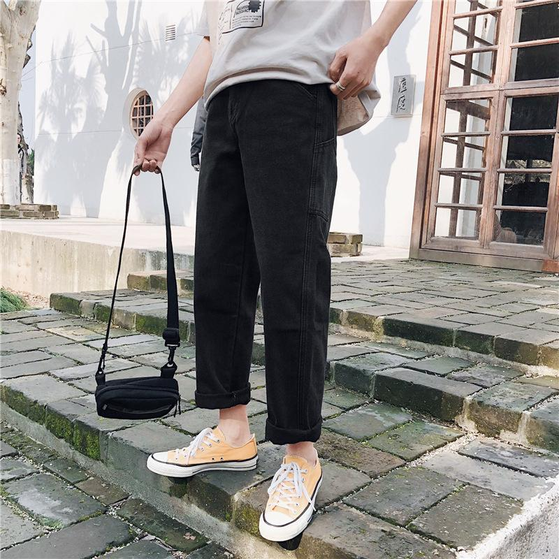 Mens Loose Stretch Denim Pants 2019 Autumn Winter Streetwear Wide Leg Distressed Ripped Straight Trousers Jeans for Men
