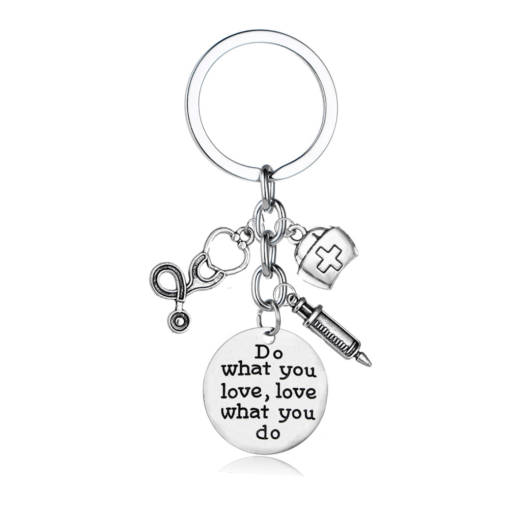 12PC Do What You Love Love What You Do Keychain Nurse Stethoscope Syringe Keyring Women Girls Key Chain Nurse's Day Gift Key Fob(China)
