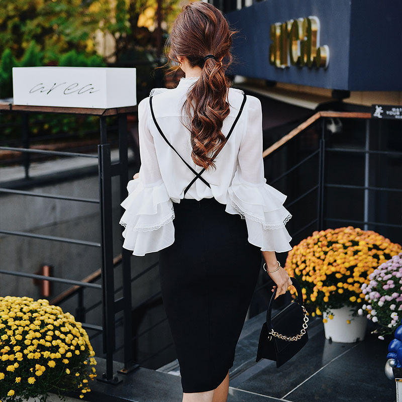 Dabuwawa Chic Split Suspender Skirts Women Female Slim Fit Solid Office Lady Double Breasted Pencil Skirt DN1ARS004